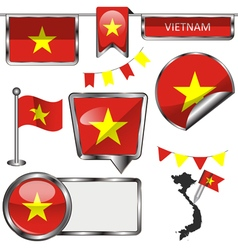 Glossy icons with Vietnamese flag vector image