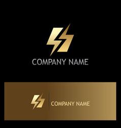 Gold bolt letter s logo vector