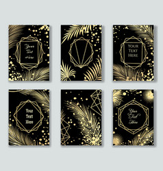 golden leaves on black templates vector image