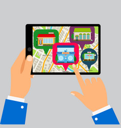 Hands holding tablet with restaurants map vector