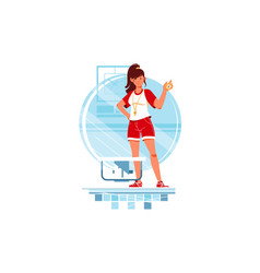 happy woman coaches and swimmers with stopwatch vector image