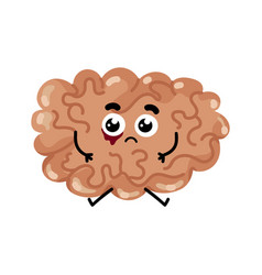 Human sick brain cartoon character vector