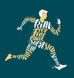 jogging fitness or run concept typographic vector image