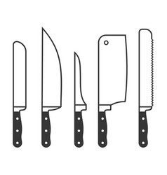 kitchen knives set on white background vector image