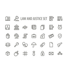 Law and justice icons set line vector