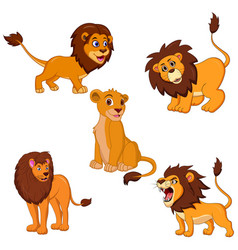 Lion cartoon set collection vector