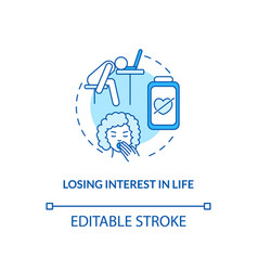 Losing interest in life concept icon vector