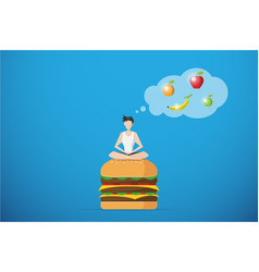 Man meditating on burger and thinking fruit vector