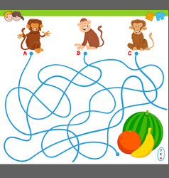 maze game with monkeys and fruits vector image