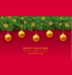 Merry christmas gold ball concept background vector