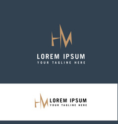 mh logo design m and h in modern flat style logo vector image