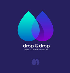 Mineral water logo two drops transparent gradient vector