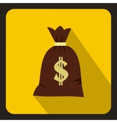 Money bag icon flat style vector