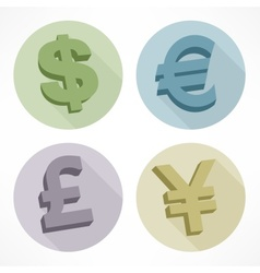 Money color signs dollar euro pond vector