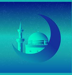 mosque and moon starry night vector image