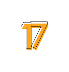 Number 17 template design design for anniversary vector