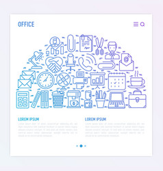 Office concept in half circle with thin line icons vector