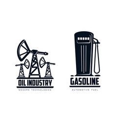 Oil derrick pump and fueling station icon vector