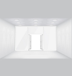 Open doors store interior 3d shop empty space vector