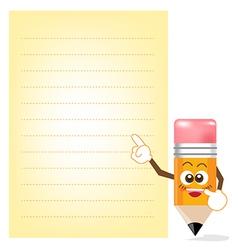 Pencil Cartoon showing Note Paper vector image