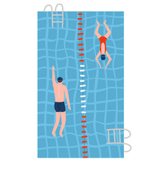 people in swimsuits swimming in pools swimming vector image