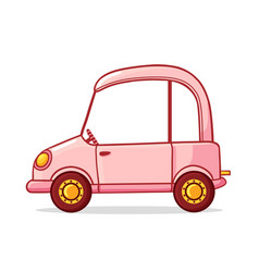 Pink cartoon car in cartoon vector