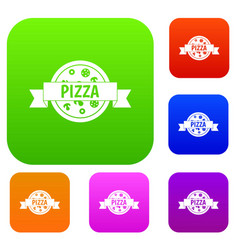 pizza label with ribbon set color collection vector image