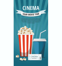 poster with popcorn bowl drink and tickets vector image