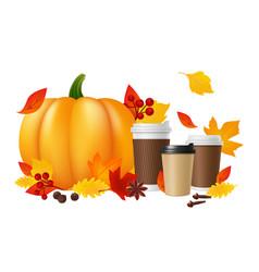 pumpkin spice latte realistic coffee cups pumpkin vector image