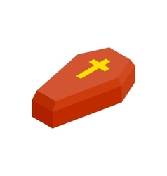 Red coffin isometric 3d icon vector image