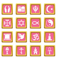 Religion icons set pink square vector