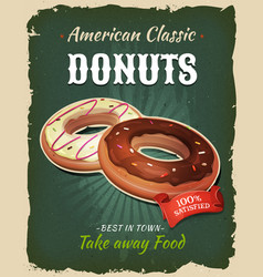 Retro fast food donuts poster vector