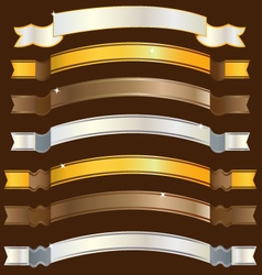 Ribbons gold copper silver vector