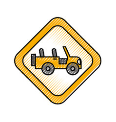 Safari signal road jeep car transport vector