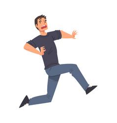scared man running afraid something terrified vector image