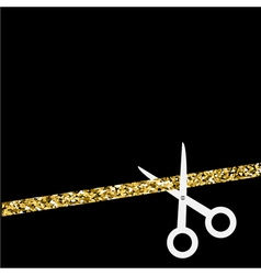 Scissors cut the straight ribbon Flat design style vector