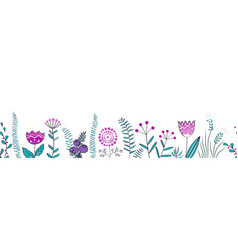 seamless border with forest and meadow plants vector image