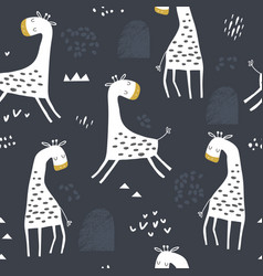 Seamless childish pattern with cute giraffe and vector