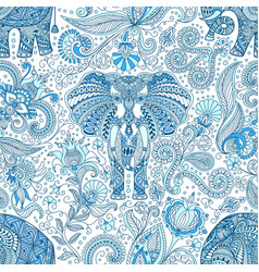 seamless pattern with blue indian elephant vector image