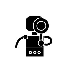 search robot black icon sign on isolated vector image