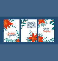 set greeting cards with poinsettia flowers red vector image