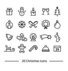 set of christmas line icons vector image