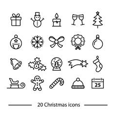 set of christmas line icons vector image