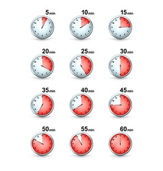 Set of Red Timer icons Different Time Interval vector image