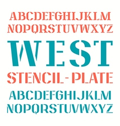 Set uppercase stencil plate font vector