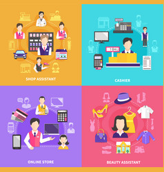 Shopfolk icons design concept vector