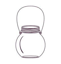 Silhouette circular glass container with handle vector
