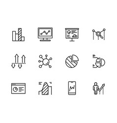 simple set icons data analytics strategy vector image