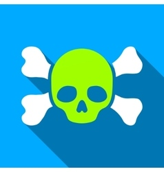 Skull And Bones Flat Long Shadow Square Icon vector