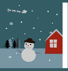 smiling snowman on night background with red house vector image